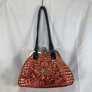 Metallic Copper Flower Handbag Purse